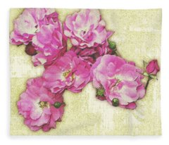 Bush Roses Painted On Sandstone Fleece Blanket