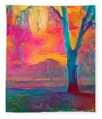 Bush Sunset  Fleece Blanket