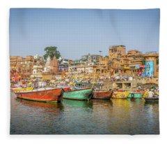 Busy Ghats Varanasi Fleece Blanket