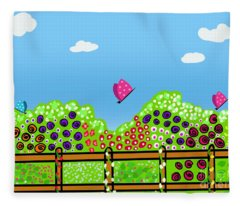 Butterflies And Flowers Fleece Blanket