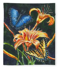 Butterflies And Flowers Sketch Fleece Blanket