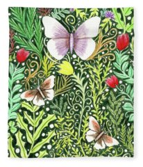 Butterflies In The Millefleurs Fleece Blanket