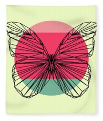 Butterfly And Sunset Fleece Blanket