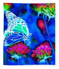 Butterfly Blue Fleece Blanket