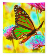 Butterfly Green  Fleece Blanket