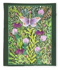 Butterfly In The Millefleurs Fleece Blanket