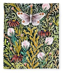 Butterfly Tapestry Design In Mustard, Red And Green Fleece Blanket