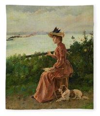 By The Sea, 1890 Fleece Blanket