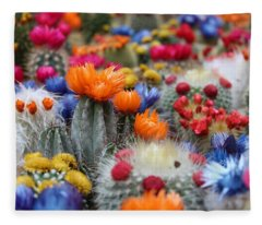 Cacti Flowers Fleece Blanket