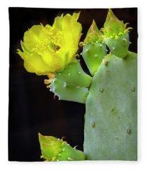 Cactus Blooms With Bee II Fleece Blanket