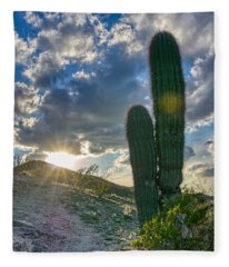 Cactus Portrait  Fleece Blanket