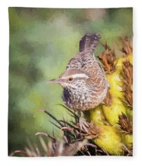 Cactus Wren Fleece Blanket
