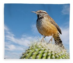 Cactus Wren On A Saguaro Cactus Fleece Blanket