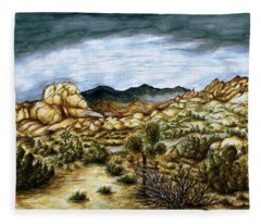 California Desert Landscape - Watercolor Art Painting Fleece Blanket