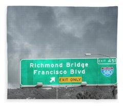 California Highway Traveling Richmond Bridge Fleece Blanket