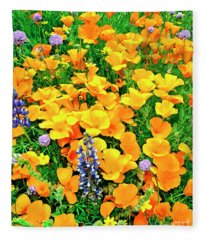 California Poppies And Betham Lupines Southern California Fleece Blanket