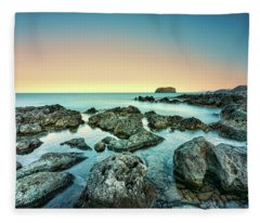 Calm Rocky Coast In Greece Fleece Blanket