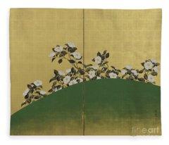 Camelias, Edo Period Fleece Blanket