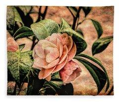 Camellia Grunge Fleece Blanket