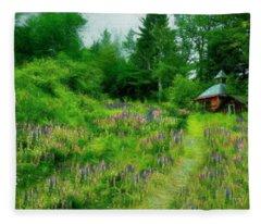 Camp In The Lupine Fleece Blanket