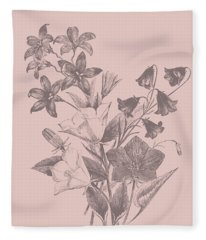 Campanulas Blush Pink Flower Fleece Blanket