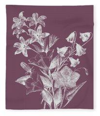 Campanulas Purple Flower Fleece Blanket