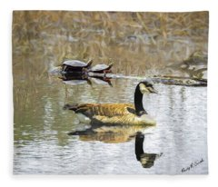 Canada Goose And Two Painted Turtles Together In A New England M Fleece Blanket