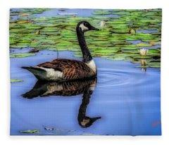 Canada Goose Swimming Alone. Fleece Blanket