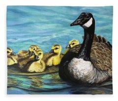 Canadian Goise And Goslings Fleece Blanket