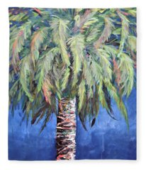 Canary Island Palm- Warm Blue I Fleece Blanket
