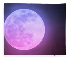 Fleece Blanket featuring the photograph Cancer Super Wolf Blood Moon Near Eclipse by Judy Kennedy