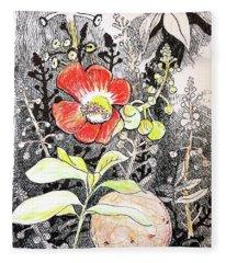 Cannonball Flower Botanical Fleece Blanket