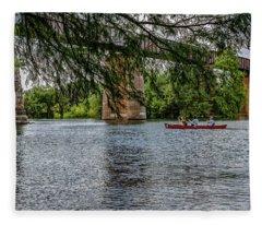 Canoeing Lady Bird Lake Fleece Blanket