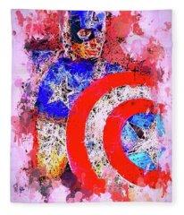 Captain America Watercolor Fleece Blanket
