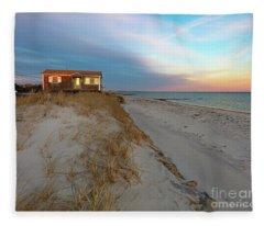 Cape Cod Beach House At Sunset Fleece Blanket
