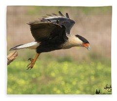 Caracara Taking Off Fleece Blanket