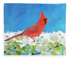 Cardinal In The Blooming Tree Fleece Blanket