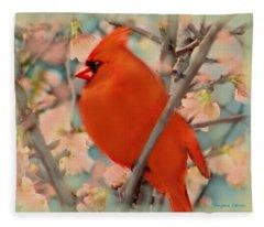 Cardinal Spring Fleece Blanket