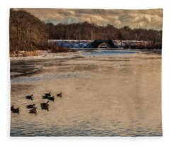 Carmens River In Winter Fleece Blanket
