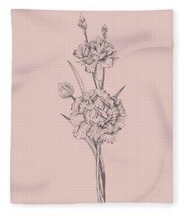 Carnation Blush Pink Flower Fleece Blanket