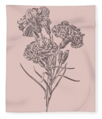 Carnations Bush Pink Flower Fleece Blanket