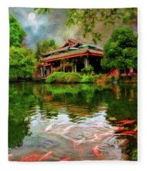 Carp At Dujiangyan Irrigation Cystem China Fleece Blanket