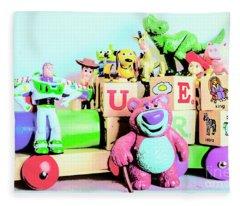 Carriage Of Cartoon Characters Fleece Blanket
