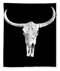 Fleece Blanket featuring the photograph Carved Animal Skull  by Andrea Kollo