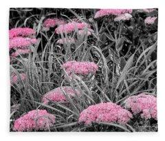 Carved Pink Butterfly Bush Fleece Blanket