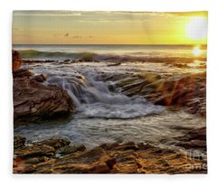 Cascading Sunset At Crystal Cove Fleece Blanket