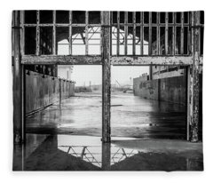 Fleece Blanket featuring the photograph Casino Reflection by Steve Stanger