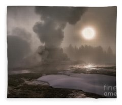 Castle Geyser Sunrise - Yellowstone National Park Fleece Blanket
