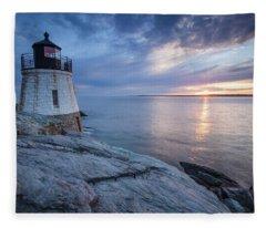 Castle Hill Light Sunset Fleece Blanket
