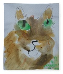 Cat Face Yellow Brown With Green Eyes Fleece Blanket